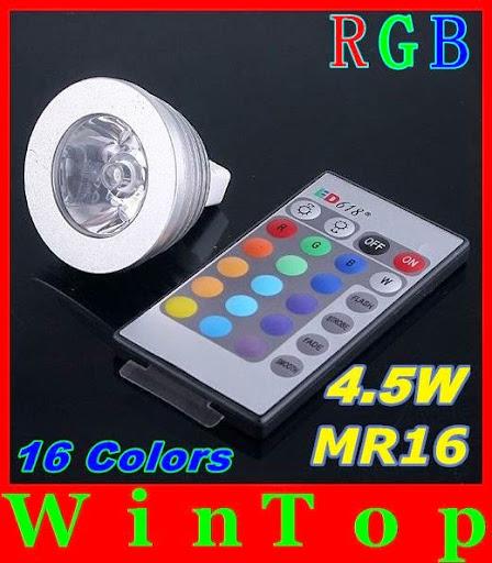 10PCS DC12V 16 Colors changing RGB LED Lamp 4.5W MR16 R
